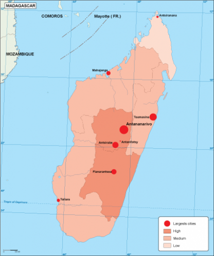 Madagascar population map