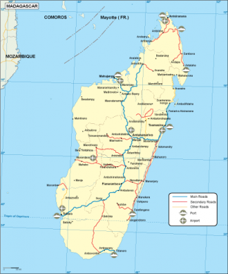 Madagascar transportation map