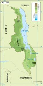 Malawi physical map