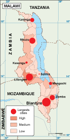 Malawi population map