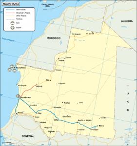 Mauritania transportation map