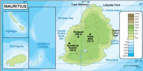 Mauritius physical map