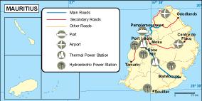 Mauritius transportation map