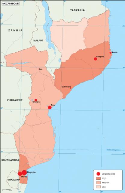 Mozambique population map