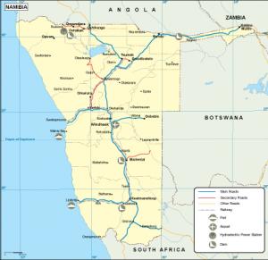 Namibia transportation map