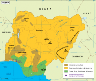 Nigeria vegetation map