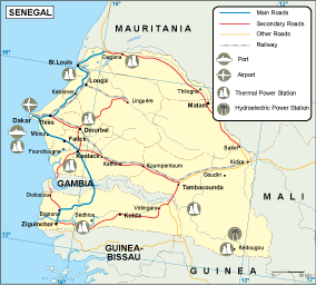 Senegal transportation map