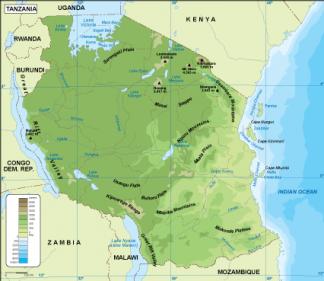 Tanzania physical map
