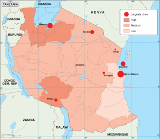 Tanzania population map