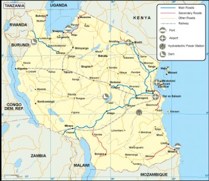 Tanzania transportation map