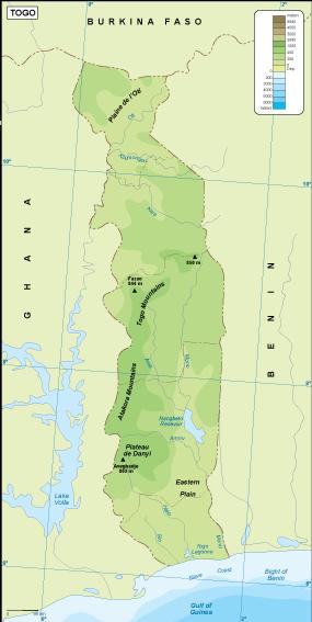 Togo physical map
