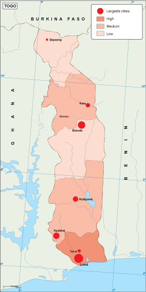 Togo population map
