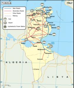 Tunisia transportation map