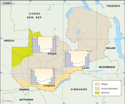 Zambia climate map