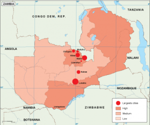 Zambia population map