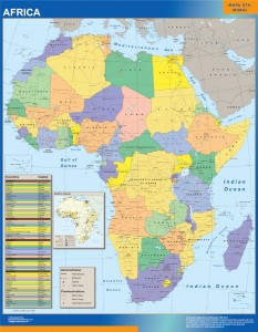 africa political wall map