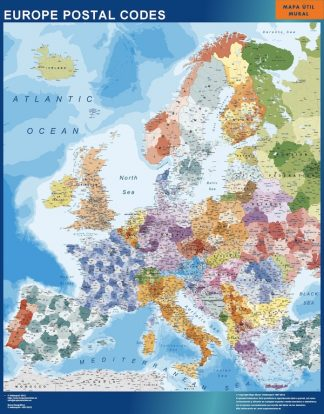 europe postal codes wall map