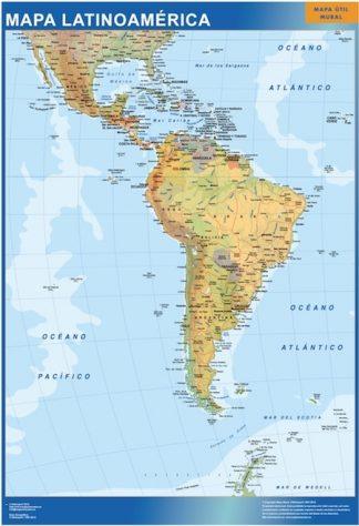 latin america wall map