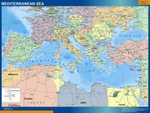 mediterranean sea countries wall map