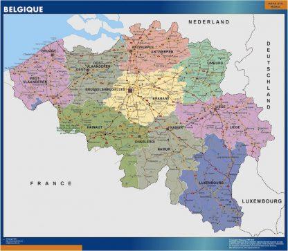 wall map belgium