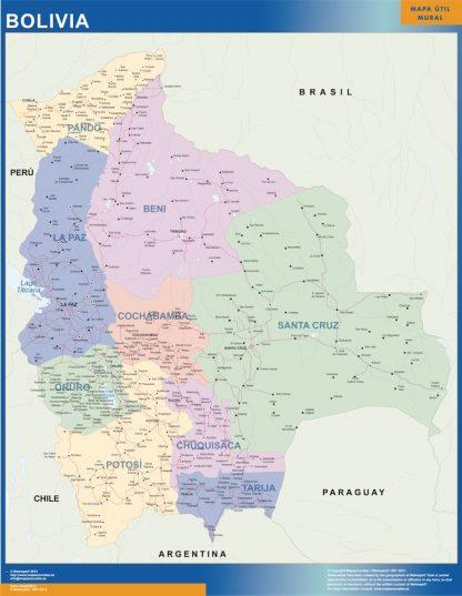 wall map bolivia