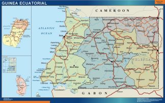 wall map equatorial guinea