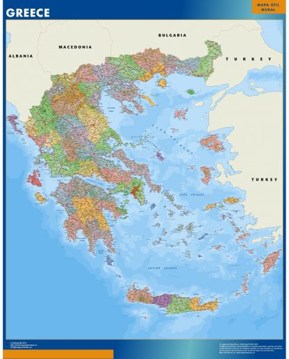 wall map greece