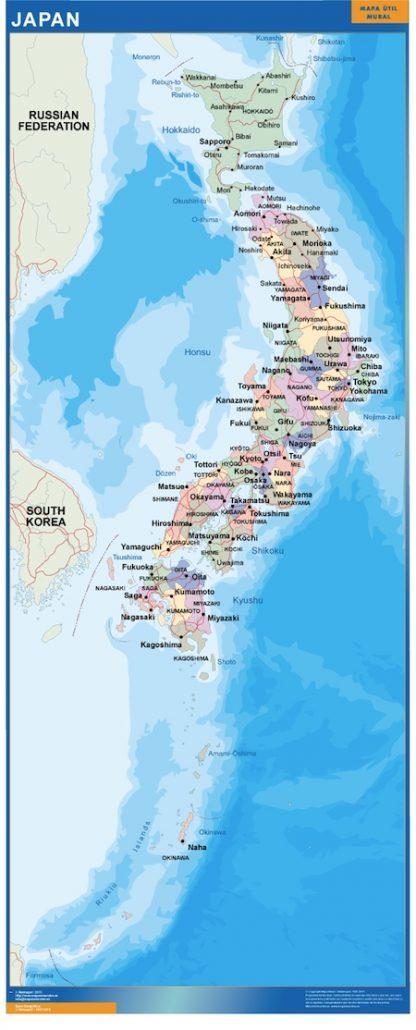 wall map japan