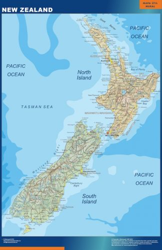 wall map new zealand