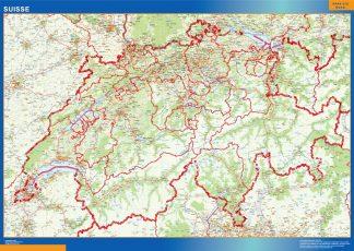wall map switzerland