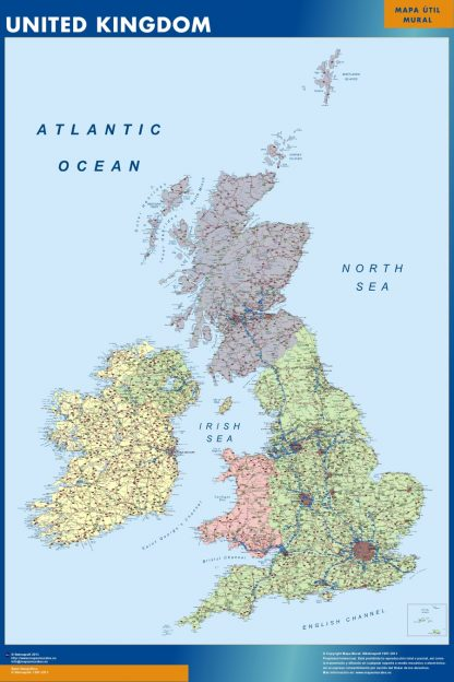 wall map united kingdom