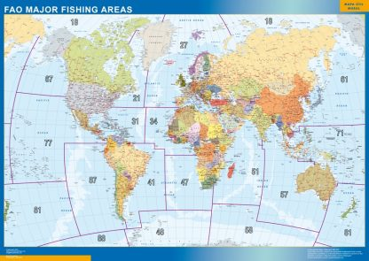 world wall map fao fishing areas