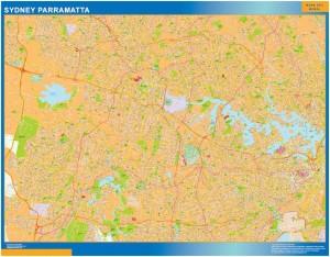 Sydney Parramatta wall map