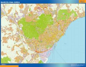 barcelona area wall map