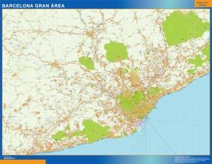 barcelona gran area wall map