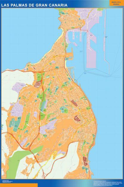 las palmas de gran canaria wall map