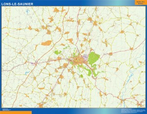 lons le saunier wall map