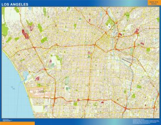 los angeles wall map