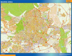 madrid area wall map