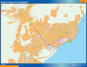 santa cruz tenerife wall map