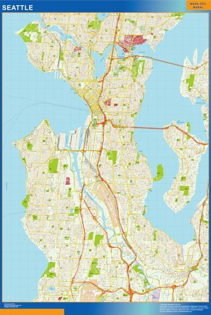 seattle wall map