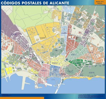 Alicante Codigos Postales mapa magnetico