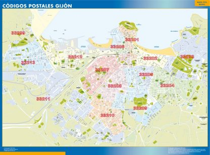 Gijon Codigos Postales mapa magnetico