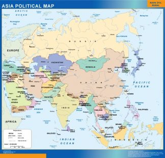 asia political framed map