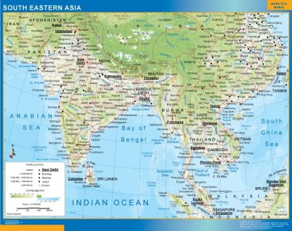south eastern asia framed map