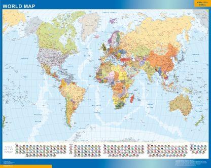 world vinyl sticker map flags