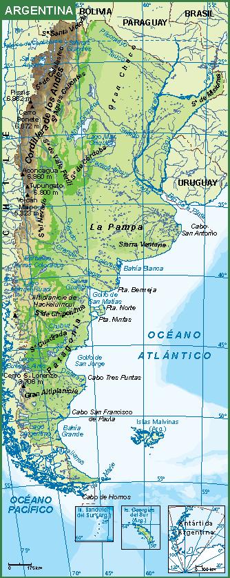 Argentina mapa fisico