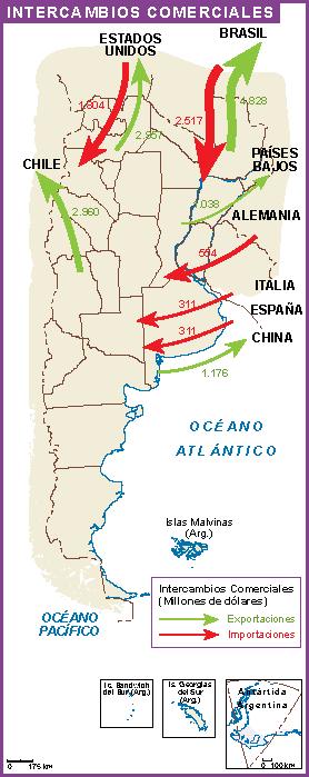 Argentina mapa intercambio comercial