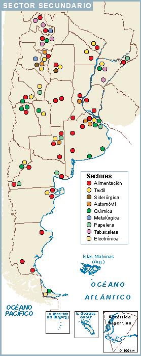 Argentina mapa sector secundario