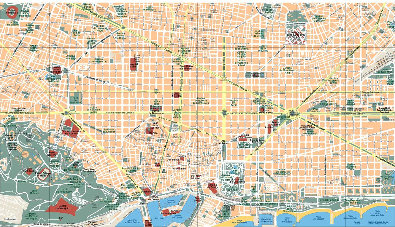 Barcelona En El Mapa.Barcelona Mapa Vectorial Netmaps Mapas De Espana Y Del Mundo